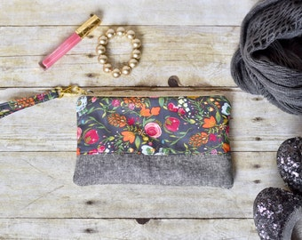 floral wristlet - wristlet - pink and gray wristlet - phone pouch - small purse - clutch - teacher gift - bridesmaid gift - gift for her