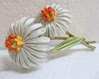 Vintage Signed ART Double Daisy Flower Pin Brooch Enamel Over Metal 1950's