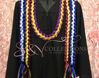 personalized graduation ribbon lei with your school color & graduate name