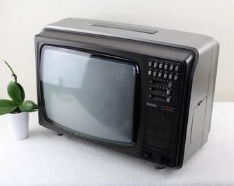 Vintage Portable TV Philips Color Tv 80s Car Tv Mini Portable  Tv Portable Device Kitchen TV Camping TV