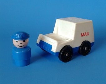 "Fisher Price Little People "" #2500 Main Street Mailman Mail Truck "" 1970's"