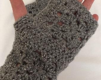 Crochet Granny Square Glitter Wrist/Hand Warmers
