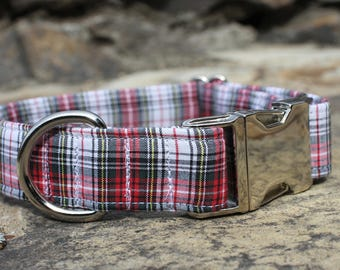Red Plaid Dog Collar, Dog Collar, Male Dog Collar, Large Dog Collar, Small Dog Collar, Fabric Dog Collar, Holiday, Christmas Dog Collar