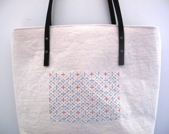 tote bag with screen printed and embroidered details, shopping bag, market bag, gocco print on canvas tote with vegan suede shoulder straps