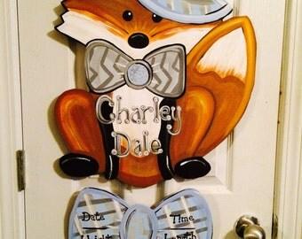 Cute Fox baby hospital door hanger