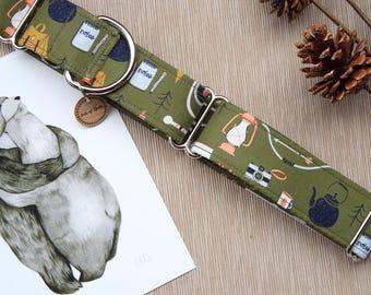 The Camper, Green Dog Collars, Boy Dog Collars, Boho Dog Collars, Olive Green Collars, Martingale Collars, Large Dog Collars, Fabric Collars