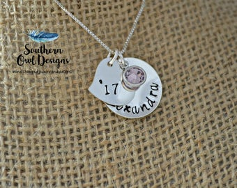 hand stamped graduation necklace, graduation gift, graduation year necklace