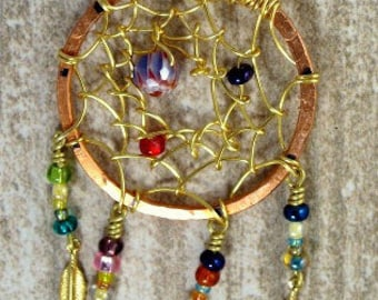 Beaded Dream Catcher Pendant Necklace with copper and gold colored metals