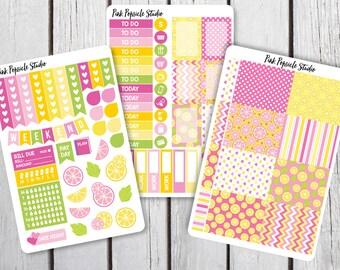 Pink Lemonade Weekly Kit Planner Stickers Designed for Erin Condren Life Planner Vertical