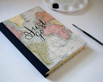 Travel Journal, Adventure Journal, Travel Journal with Pocket, Handlettered Map, Just Go