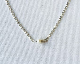 White Freshwater Pearl Sterling Silver Floating Necklace