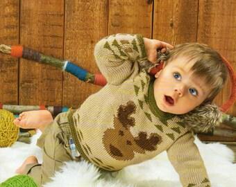 baby childrens reindeer christmas jumper knitting pattern 99p pdf