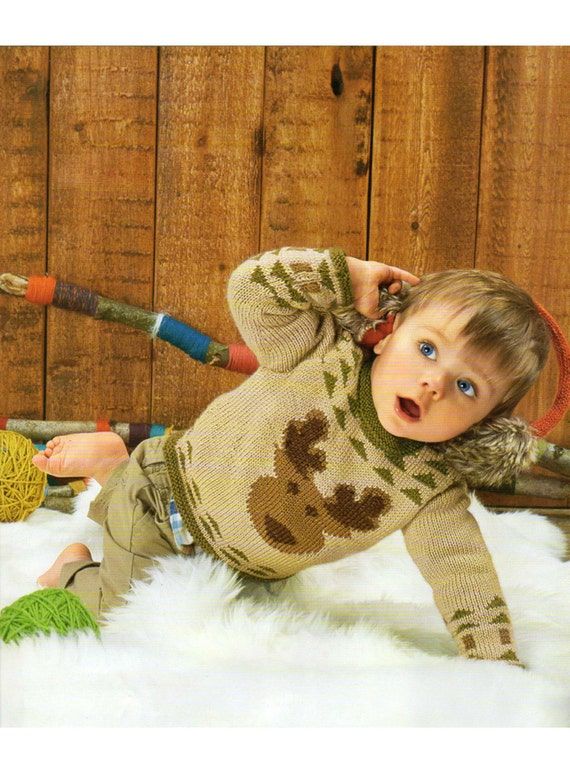 Knitting Patterns For Children s Christmas Jumpers : baby childrens reindeer christmas jumper knitting pattern 99p