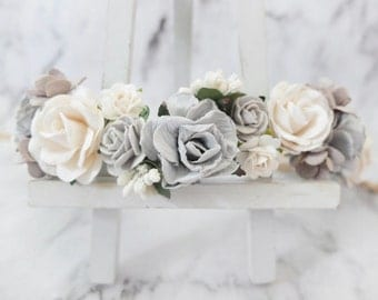 Gray and white wedding flower crown - head wreath - bridesmaid hair accessories - flower girls - garland