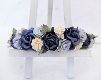 Flower crown - navy dusty blue ivory flower headpiece - hair accessories - floral hair wreath - halo - garland