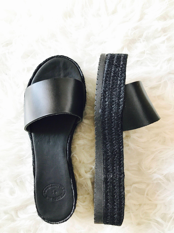 Black sandals grunge - Black Open Toe Slides Greek Leather Sandals Black Espadrille Platforms Flatforms Summer