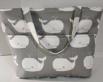 Gray Tote Diaper Bag With Whale