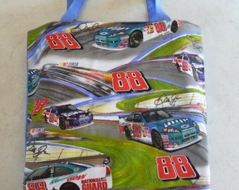 Library Bag.   Nascar 88 design with blue backing.