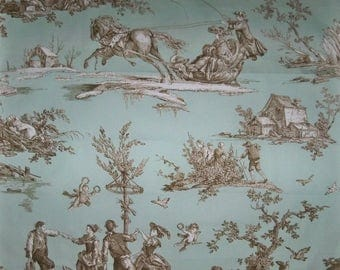 DESIGNER Romantic Fragonard TOILE DE Jouy Fabric 10 Yards Amber Aqua