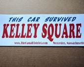 """This Car Survived Kelley Square Bumper Sticker (Waterproof, UV Resistant, Adhesive Vinyl Decal 4""""x11"""")"""