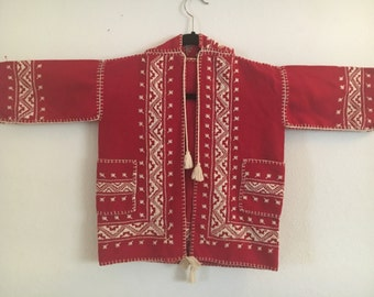 Cutest Embroidered Children's Wool Jacket Hand Made Vintage Approximately size 5-6