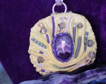 Shibori Silk, Amethyst and seed bead Scarf charm on silver plated charm holder.