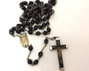 Old Black French Jet Glass Rosary Crusifix.Lourdes 22 inches long.