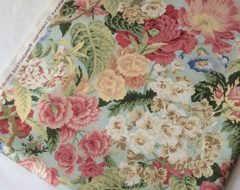 P Kaufmann Screen Printed Large Pink Green Floral Pattern Fabric