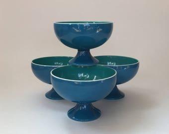Vintage Holt Howard Blue and Green Footed Dessert Bowls Set of Four