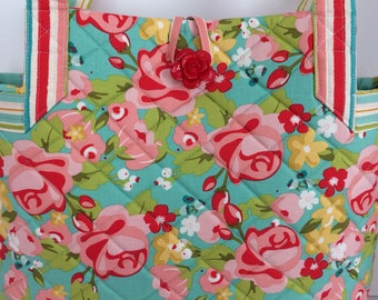 Quilted Handbag Tote Purse Hello Gorgeous Fabric Aqua Pink Red Roses