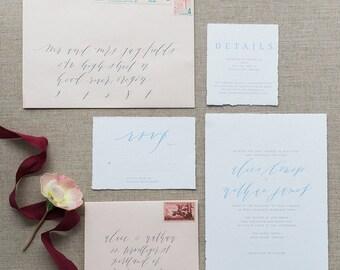 Semi-Custom Calligraphy Wedding Invitation Suite - Pastel - Flat, Foil, Letterpress Printing