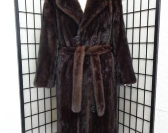 Refurbished new dark ranch mink  fur coat with belt for men custom made