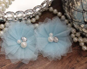 """SET OF TWO - 3"""" Light Pastel Blue Tulle Flowers with Center Accent - Elegant - Beautiful - Hair Accessories - Wedding - TheFabFind"""
