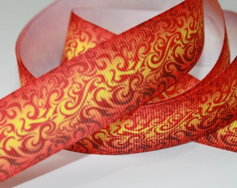 """1"""" inch Red, Orange, Yellow Flames Fire Like Printed Grosgrain Ribbon for Hair Bow TheFabFind"""