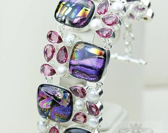 Double Capped Dichroic Glass IRRADIATED Morganite Pearl 925 S0LID Sterling Silver Bracelet B2496