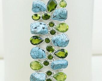 Turquoise Peridot 925 S0LID Sterling Silver Bracelet B2658