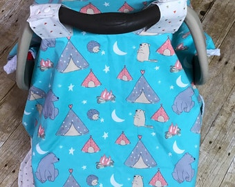 Wee Little Campfire Infant Car seat canopy/ Cover/ campfire/ teepee/ teal/ coral/minky/ bear/ animals