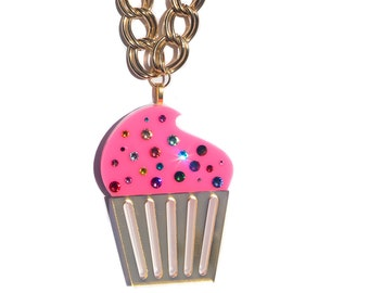 Large Swarovski Crystal Pink Cupcake Necklace