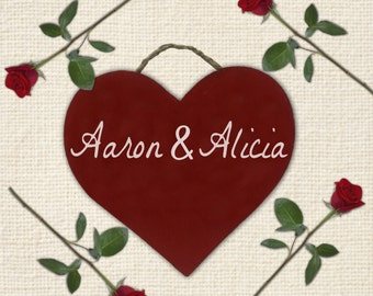 Red Custom Wooden Valentine's and Anniversary Heart