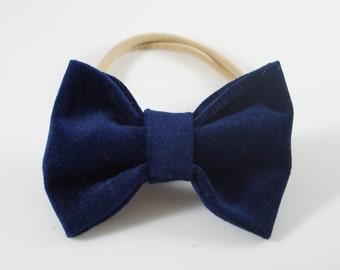 Navy Velvet Bow. Velvet Baby Bow. Toddler Headband. Baby Headband. Baby Christmas Bow. Newborn Headband. Baby Hair Bow. Christmas Bow.