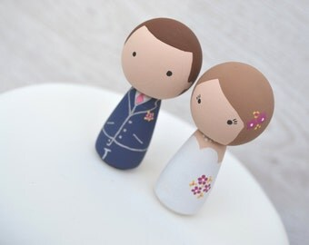 Bride & Groom Cake Toppers - Personalised Wedding Cake Toppers - Kokeshi Cake Toppers - Peg Doll Cake Toppers - Wedding Cake Toppers