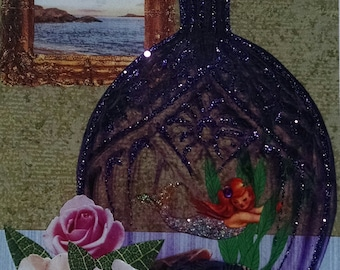 Redhead Mermaid Card-Purple,Bottle,Red Hair, Red Head,Pink Roses,Roses,Collage,Embellished,Glitter
