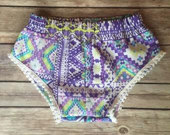 Purple Aztec Baby Shorts , Aztec Shorts , Pom Pom Baby Shorts , Toddler Shorts , Baby Girl Shorts