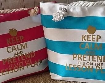 Teacher Christmas Gift, Teacher Appreciation Gift, Personalized Teacher Gift, Teacher Tote Bag, Keep Calm Teacher Tote, Teacher Name Tote
