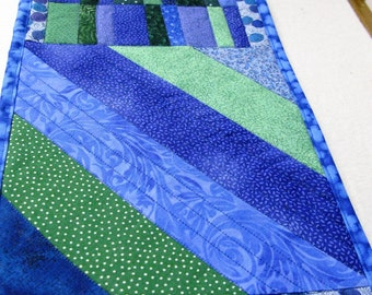 Quilted table runner, blue, green, purple  Vibrant, Bold, spring quilted table runner