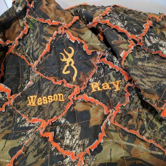 Mossy Oak Orange Camo Rag Blanket Camo Baby Blanket Orange