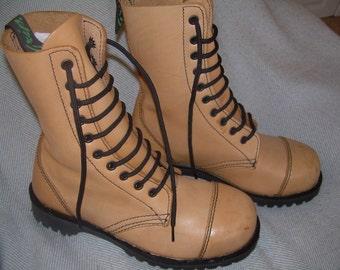 Steel toe cap work boots by Getta Grip in pale caramel -  UK 4 EU 37 US 6.5 or mens 5 - mid calf unworn