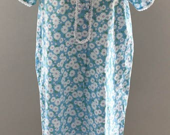 Nightgown blue 60er70er years pink white flower pattern cute Nightgown