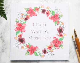 On The Day Wedding Card, I Can't Wait To Marry You - Bride or Groom - Illustrated Floral Wreath - Plum, Burgundy, Woodland - Morning of