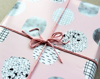 """3 x """"dots"""" A2 wrapping paper wrapping paper pastel pastel fifties style pink pink"""